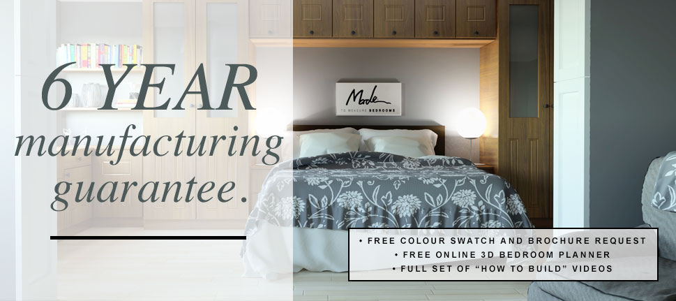 6 year manufacturing guarantee for your custom bedroom. Request a free colour swatch and brochure